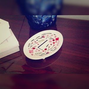 Anthropologie Monogram Meadow Trinket Dish - ' L '